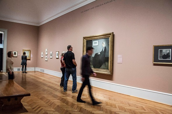 Museumgoers view Whistler's Arrangement in Grey and Black No. 1 (aka Whistler's Mother) at the Art Institute, where it has returned to Chicago for the first time in more than 60 years. - MARIA CARDONA/ SUN-TIMES