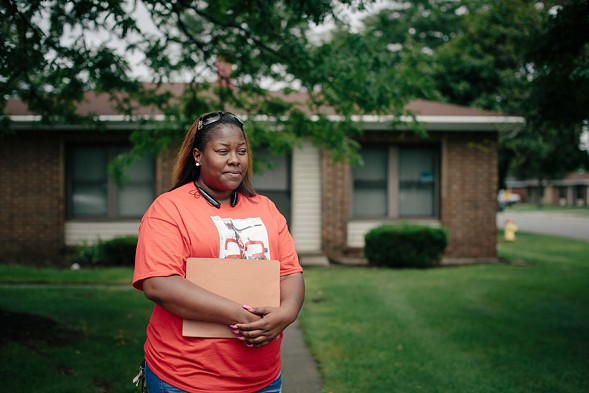 """Akeeshea Daniels and her two sons are among the families scheduled to be relocated from the lead-contaminated West Calumet Housing Complex to Chicago's Altgeld Gardens, nicknamed the """"toxic doughnut."""" - ALYSSA SCHUKAR"""