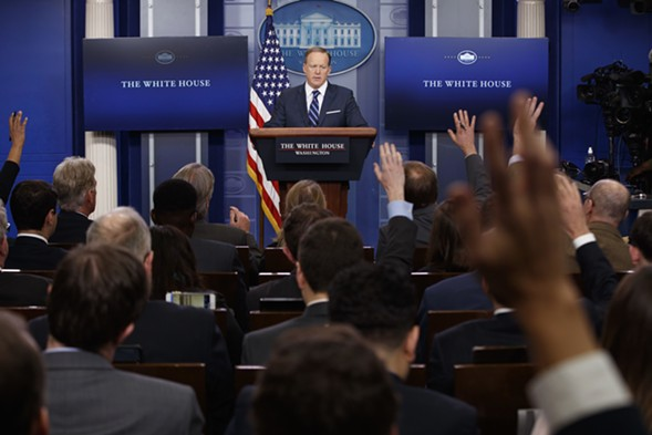 White House press secretary Sean Spicer takes questions during a daily press briefing in late March. - AP PHOTO/EVAN VUCCI