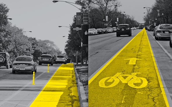 CDOT downgraded protected bike lanes on Marshall Boulevard, left, turning them into conventional lanes, right, earlier this year. - STEVEN VANCE, PAOLO CISNEROS