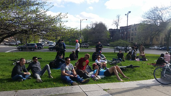 Participants at the Logan Square smoke out - LEE GAINES