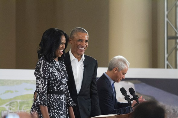 Michelle and Barack Obama at the South Shore Cultural Center Wednesday - MARIA CARDONA/SUN-TIMES