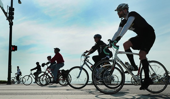 Cyclists take over Lake Shore Drive for the annual Bike the Drive on Sun 5/28. - SUN-TIMES MEDIA