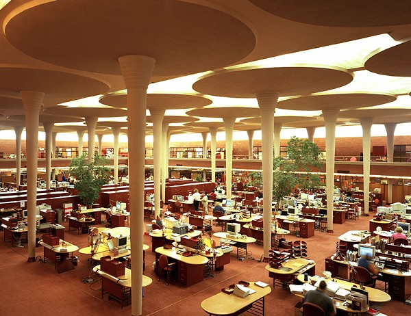 The Great Workroom of the Administration Building evokes a forest with its treelike columns and abundant natural light. - CAROL M. HIGHSMITH