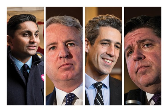 Gubernatorial candidates Ameya Pawar, Chris Kennedy, Daniel Biss, and J.B. Pritzker were missing in action for the last few years. Or, worse—they were on the other side of the good fight they now profess to be waging. - ASHLEE REZIN/SUN-TIMES MEDIA