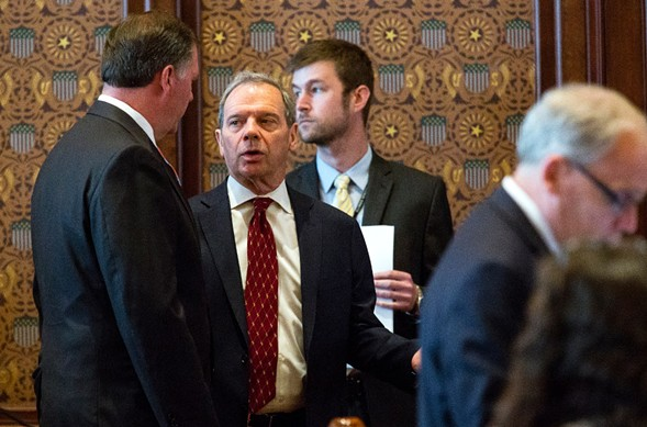 Senate president John Cullerton speaks with minority leader Bill Brady on Tuesday, when the senate overrode Governor Bruce Rauner's veto of the state's first budget package passed since 2015. - RICH SAAL/THE STATE JOURNAL-REGISTER VIA AP