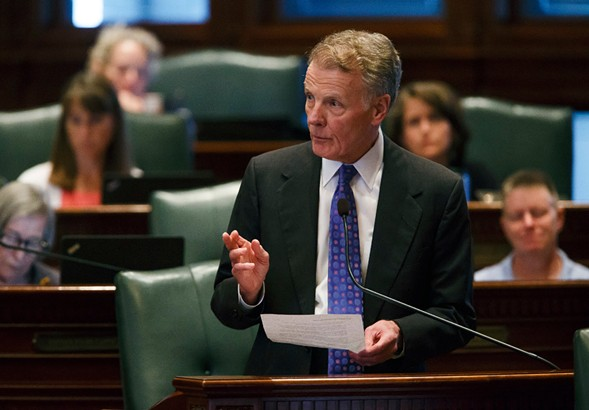 Illinois speaker of the house Michael Madigan gives a speech following the vote to override Governor Bruce Rauner's veto and pass a budget for the first time in two years. - JUSTIN L. FOWLER /THE STATE JOURNAL-REGISTER VIA AP