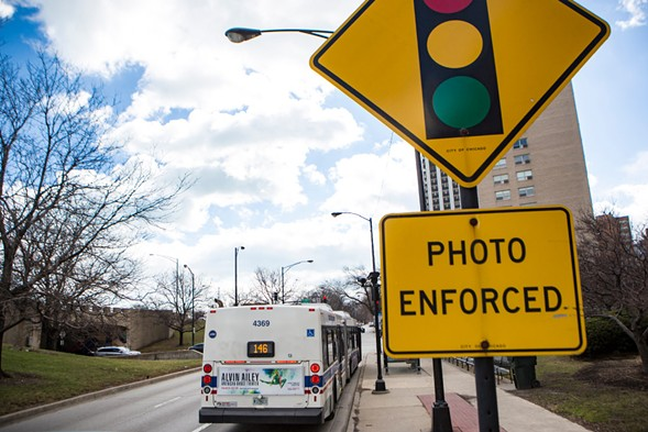 A sign for a red light camera at the corner of Belmont Avenue and Lake Shore Drive - JAMES FOSTER/FOR THE SUN-TIMES