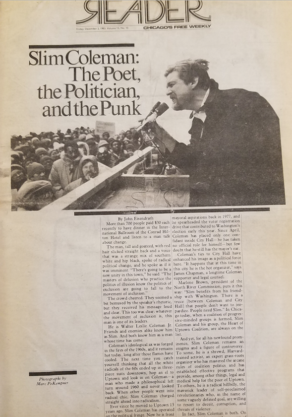 John Eisendrath's cover story on the radical community leader Slim Coleman, from the December 2, 1983, edition of the Reader.