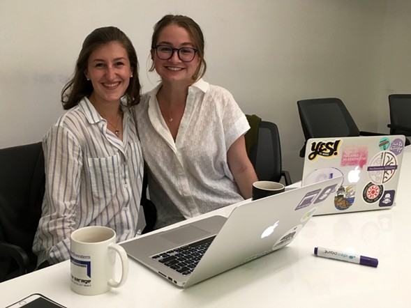 Isabel Benatar and Sam Letscher, cofounders of Bossy Chicago, in the Garage at Northwestern - AIMEE LEVITT