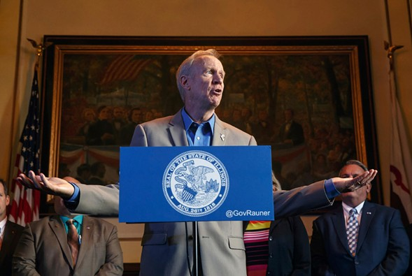 Governor Bruce Rauner speaks during a news conference on the first day of a second special session on education funding at the state capitol. - JUSTIN FOWLER/THE STATE JOURNAL-REGISTER VIA AP FILE