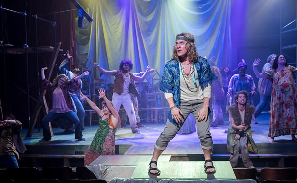 Liam Quealy and ensemble in Hair - BRETT A. BEINER