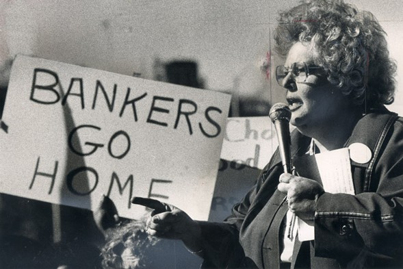 Activist Gale Cincotta leads a protest outside of the American Bankers Association meeting at McCormick Place in 1980. - SUN-TIMES LIBRARY