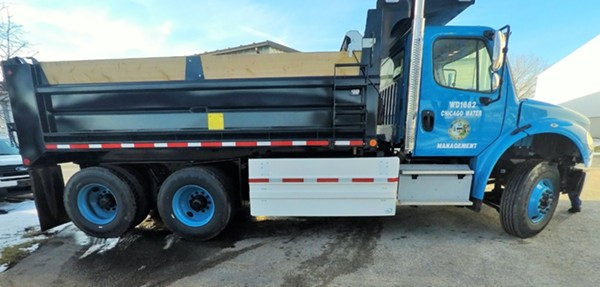 A Chicago Department of Water Management truck outfitted with side guards - COURTESY AIRFLOW DEFLECTOR