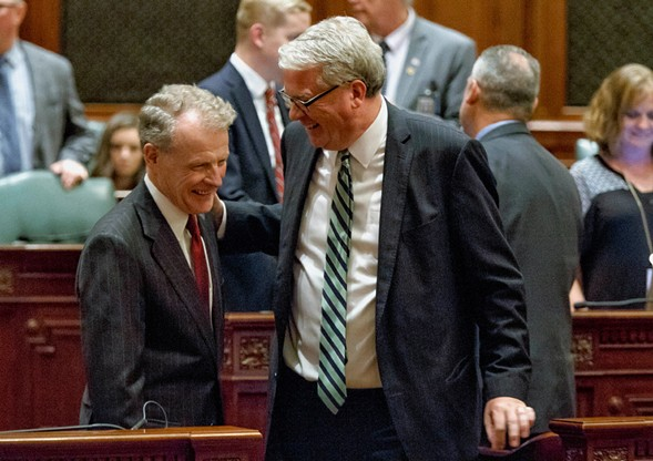 Illinois house speaker Michael Madigan and house minority leader Jim Durkin after the passage of the education funding bill - JUSTIN L. FOWLER/THE STATE JOURNAL-REGISTER VIA AP