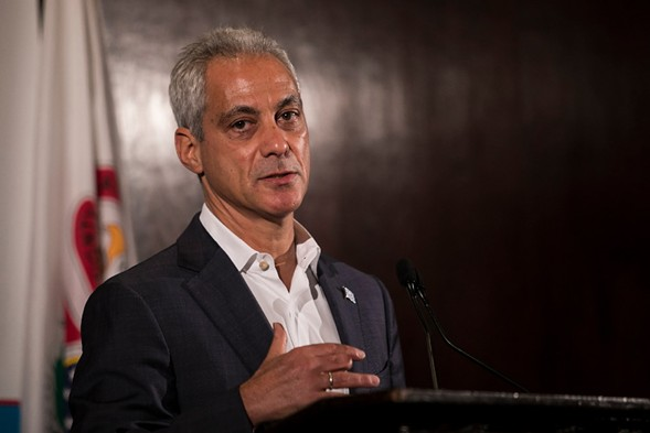 Mayor Rahm Emanuel speaking at the City Club of Chicago. - ASHLEE REZIN/SUN-TIMES