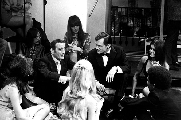 Tony Bennett with Hugh Hefner on a 1960 episode of the Chicago-based Playboy's Penthouse - EVERETT COLLECTION/REX USA