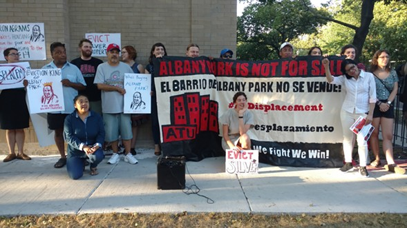 Tenants in Albany Park protested displacement by developer Ron Abrams on September 21, 2017 - MAYA DUKMASOVA
