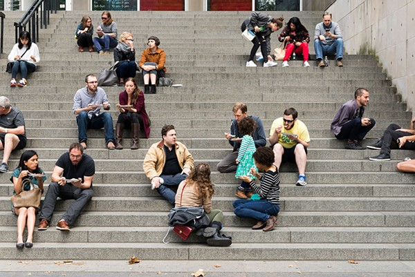 Enemy Kitchen patrons dine on the MCA's front steps. - NATHAN KEAY/MCA CHICAGO
