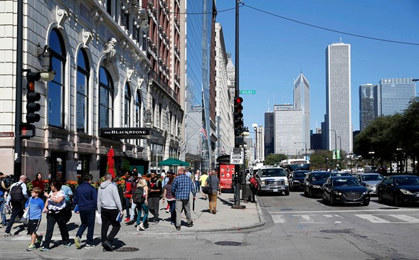 In August Stephen Paddock booked a room at the Blackstone Hotel overlooking Grant Park during the weekend of Lollapalooza, a law enforcement official said Thursday. - AP PHOTO/CHARLES REX ARBOGAST