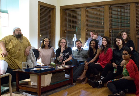 The entire group. Front row: Rosé Hernandez, Lisa Mishra, Olivia Hickner, Collin McCanna, Lakshmi Ramgopal, Adele Nicholas, assistant Dena Springer, and Bindu Poroori. Back row: Efrén Arcoiris, Lucy Little. - SIERRA THOMPSON