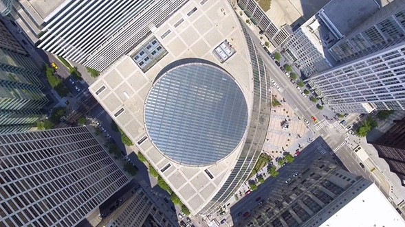 Nathan Eddy's short documentary Starship Chicago, about architect the uncertain future of Helmut Jahn's James R. Thompson Center, screens at 4 PM during MAS Context: Analog 2017. - STARSHIP CHICAGO
