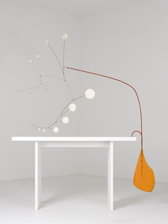 """Alexander Calder, Orange Under Table, c. 1949, on display as part of """"Heaven and Earth"""" at the Museum of Contemporary Art - MUSEUM OF CONTEMPORARY ART"""