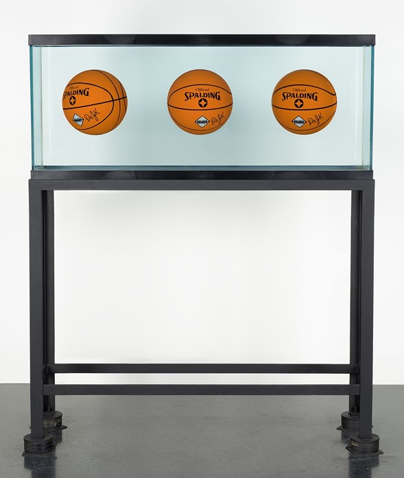 "Jeff Koons, Three Ball Total Equilibrium Tank (Dr. JK Silver Series), 1985, on display as part of ""Heaven and Earth"" at the Museum of Contemporary Art - NATHAN KEAY, MUSEUM OF CONTEMPORARY ART"