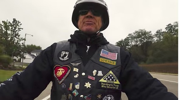 Governor Bruce Rauner rides his hog. - SCREEN GRAB FROM CAMPAIGN VIDEO