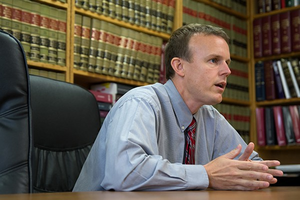 "Saline County State's Attorney Jayson Clark said he has a duty to respond when staff say they were assaulted by youth offenders at Illinois Youth Center in Harrisburg. ""I'm receiving reports of crimes occurring in my county, and I'm enforcing the law,"" he said. - NICK SCHNELLE FOR PROPUBLICA ILLINOIS"