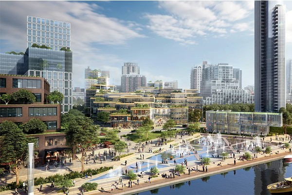 A proposed site for Amazon's HQ2 is a development called the 78 that was master planned by Skidmore, Owings & Merrill for the 62 acres south of the Loop also known as Rezkoville. - RENDERING BY ICON ARCHITECTURE