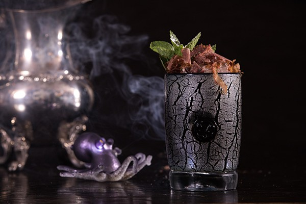The Leviathan's combination of rum, ginger, angostura, and mint steer it into tiki territory, but the gin and aquavit add a backbone of herbal anise notes, while the bonito flakes that garnish it add a faintly fishy smokiness. - LEIGH LOFTUS