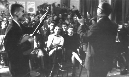 Old Town School cofounders Frank Hamilton (left) and Win Stracke perform at its opening night, December 1, 1957. - ARCHIVAL PHOTO