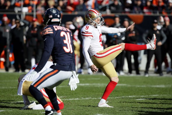 Former Bears kicker Robbie Gould kicks one of four field goals he has made against the Bears on December 3. - JONATHAN DANIEL/GETTY IMAGES