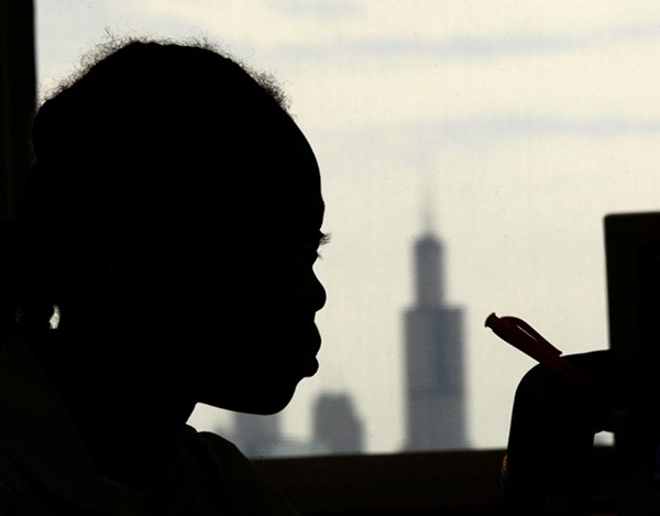 A student in class at North Lawndale College Prep - PAUL  BEATY/AP