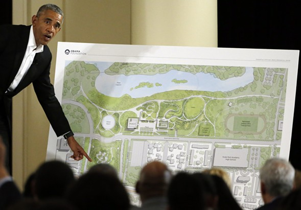 Former president Barack Obama speaks at a community event on the Obama Presidential Center at the South Shore Cultural Center in Chicago in May 2017. - AP PHOTO/NAM Y. HUH, FILE