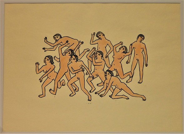 ​Dante's Hell: Figures, linoleum print with watercolor, 1920s - OTTO NEUMANN