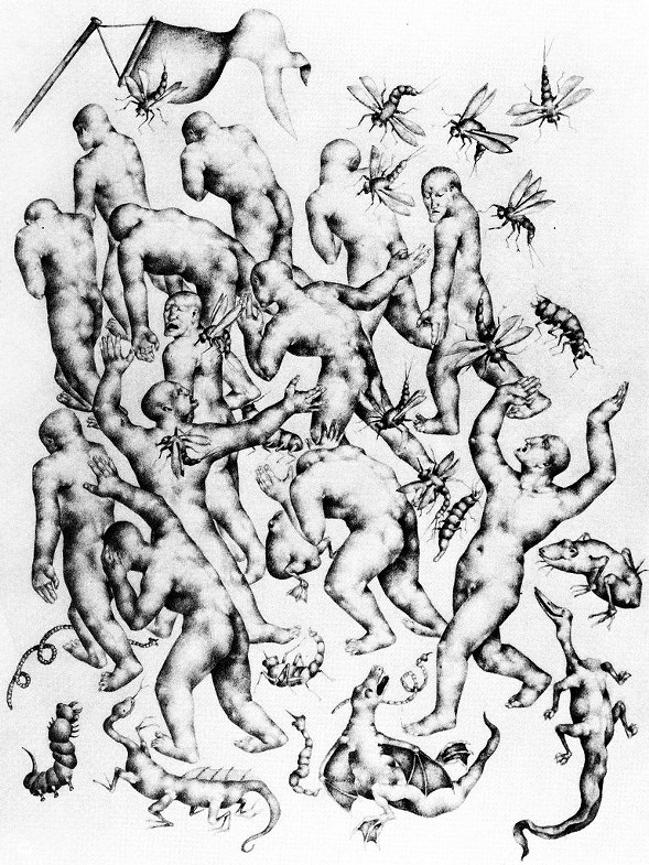 Divine Comedy (The Opportunists, Smitten by Monstrous Insects), graphite, 1927-28 - OTTO NEUMANN