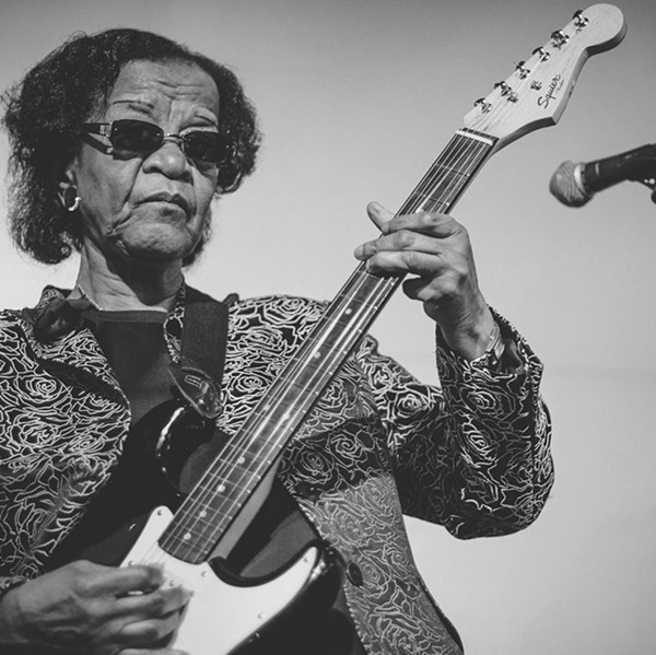 """Beverly """"Guitar"""" Watkins in the Instagram feed of She Shreds Magazine, which is posting a different black woman guitarist every day of Black History Month - KELLEY RAYE"""