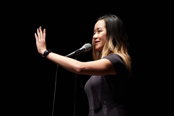 A performer at The Moth's 2017 event in Chicago. The special GrandSlam storytelling competition takes place 2/28. - KEVIN PENCZAK