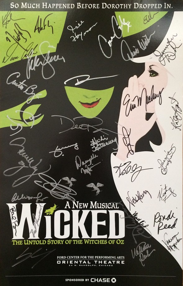 The cast of Wicked was one of many productions that donated a signed poster to the theater students. - COURTESY BROADWAY IN CHICAGO