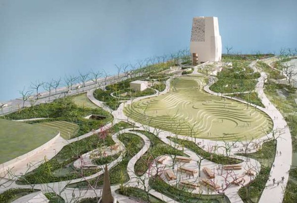 An artist's rendering of the proposed Obama Presidential Center campus in Jackson Park - KATE BERNER