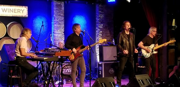 The current Zombies lineup, left to right: Rod Argent, Steve Rodford, Soren Koch, Colin Blunstone, and Tom Toomey - MARYA GLUR