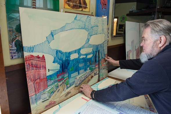 Quenchers owner Earle Johnson unearths his collection of Wesley Willis drawings. - JAMIE RAMSAY