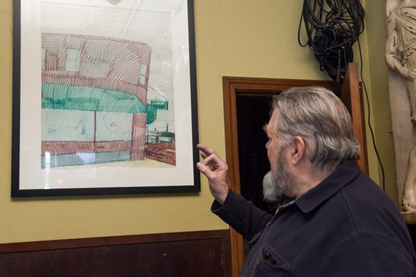 Willis's drawing of Quenchers hangs between the restrooms and the sound booth. - JAMIE RAMSAY