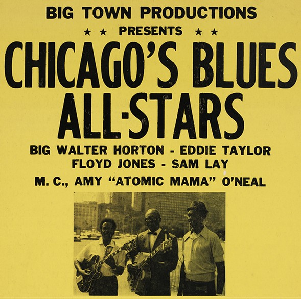 """Poster for a show Chicago's Blues All-Stars, featuring Big Walter Horton, Eddie Taylor, and Floyd Jones, Sam Lay, with emcee Amy """"Atomic Mama"""" O'Neal, at King's Club Waveland in 1974 - CHICAGO HISTORY MUSEUM"""