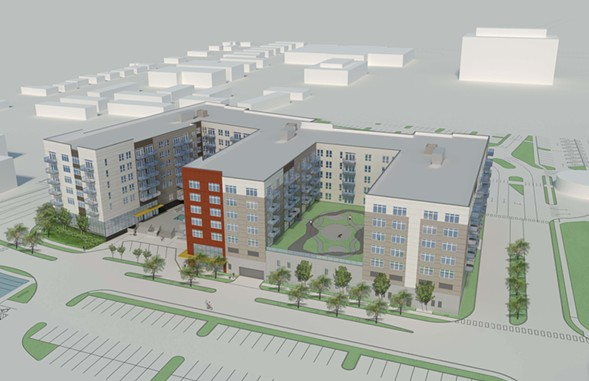A proposed 299-unit apartment building on the northwest side would include 30 affordable housing units. - COURTESY OF GLENSTAR
