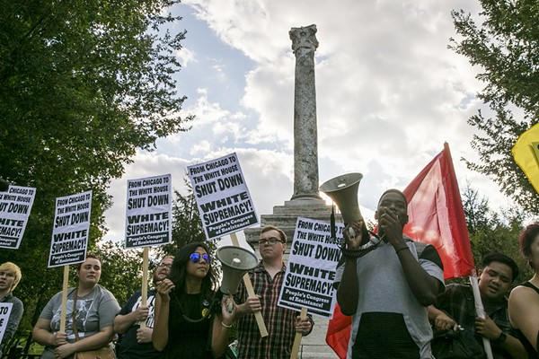 Protesters call for the removal of the Balbo monument last August. - ASHLEE REZIN/SUN-TIMES