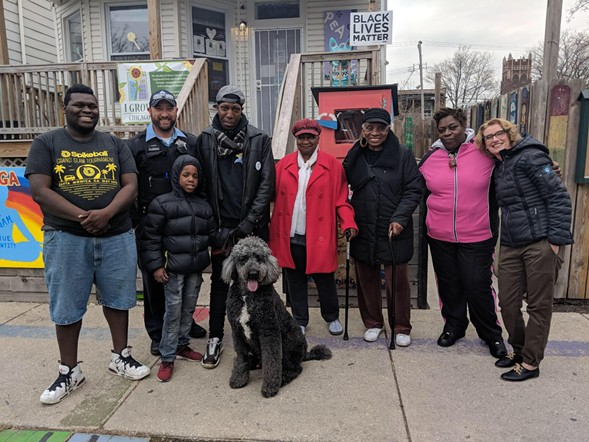 I Grow Chicago founder Robbin Carroll (far right) poses with community members, staff and board members outside the Peace House at 64th and Honore. - I GROW CHICAGO