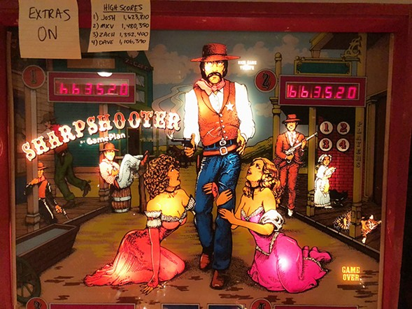 Roger is depicted as a sheriff from the Old West in the 1979 pinball game Sharpshooter - RYAN SMITH